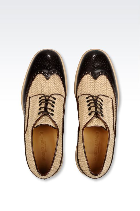DERBY IN RAFFIA AND CALFSKIN: Lace-up shoes Men by Armani - 3