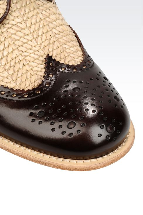 DERBY IN RAFFIA AND CALFSKIN: Lace-up shoes Men by Armani - 4