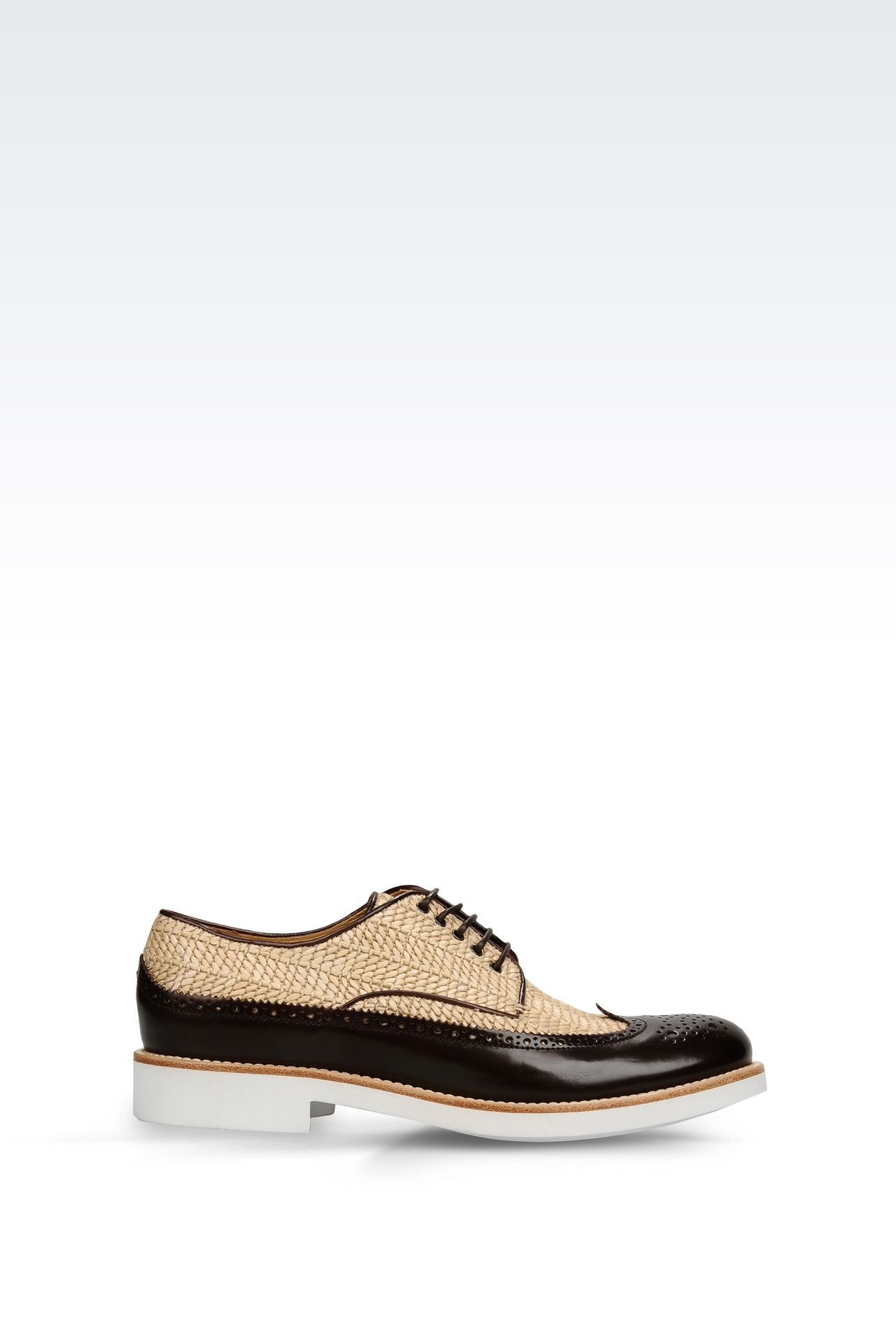 DERBY IN RAFFIA AND CALFSKIN: Lace-up shoes Men by Armani - 0