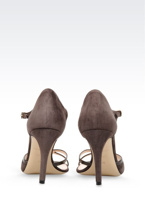 SUEDE T-STRAP SANDAL WITH PATENT DETAILS: High-heeled sandals Women by Armani - 3