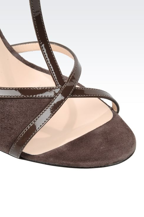 SUEDE T-STRAP SANDAL WITH PATENT DETAILS: High-heeled sandals Women by Armani - 4