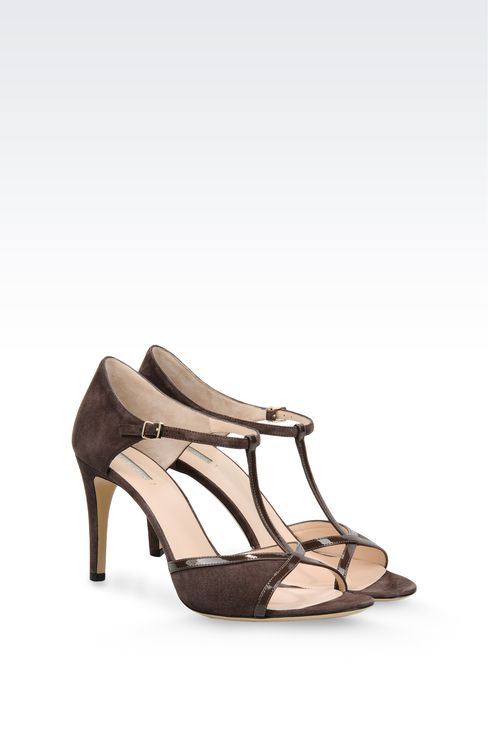 SUEDE T-STRAP SANDAL WITH PATENT DETAILS: High-heeled sandals Women by Armani - 2