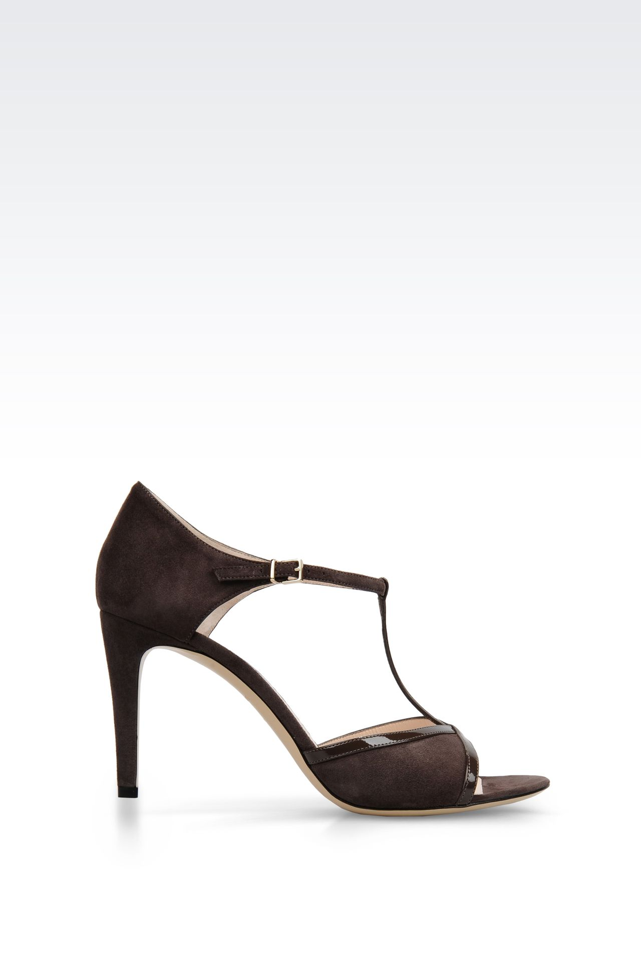 SUEDE T-STRAP SANDAL WITH PATENT DETAILS: High-heeled sandals Women by Armani - 0