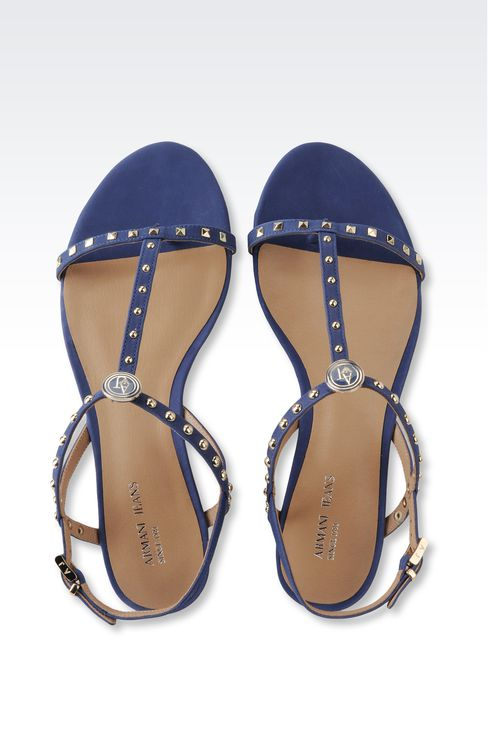 FLAT LEATHER SANDAL WITH STUDS: Flat sandals Women by Armani - 3