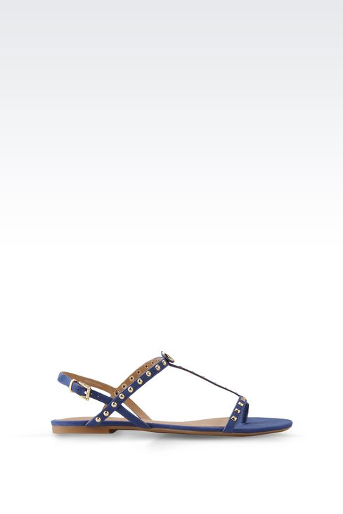 FLAT LEATHER SANDAL WITH STUDS: Flat sandals Women by Armani - 1
