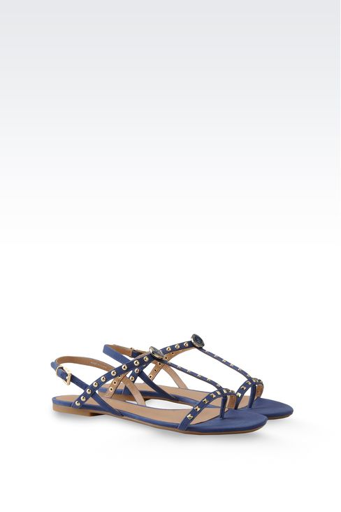 FLAT LEATHER SANDAL WITH STUDS: Flat sandals Women by Armani - 2