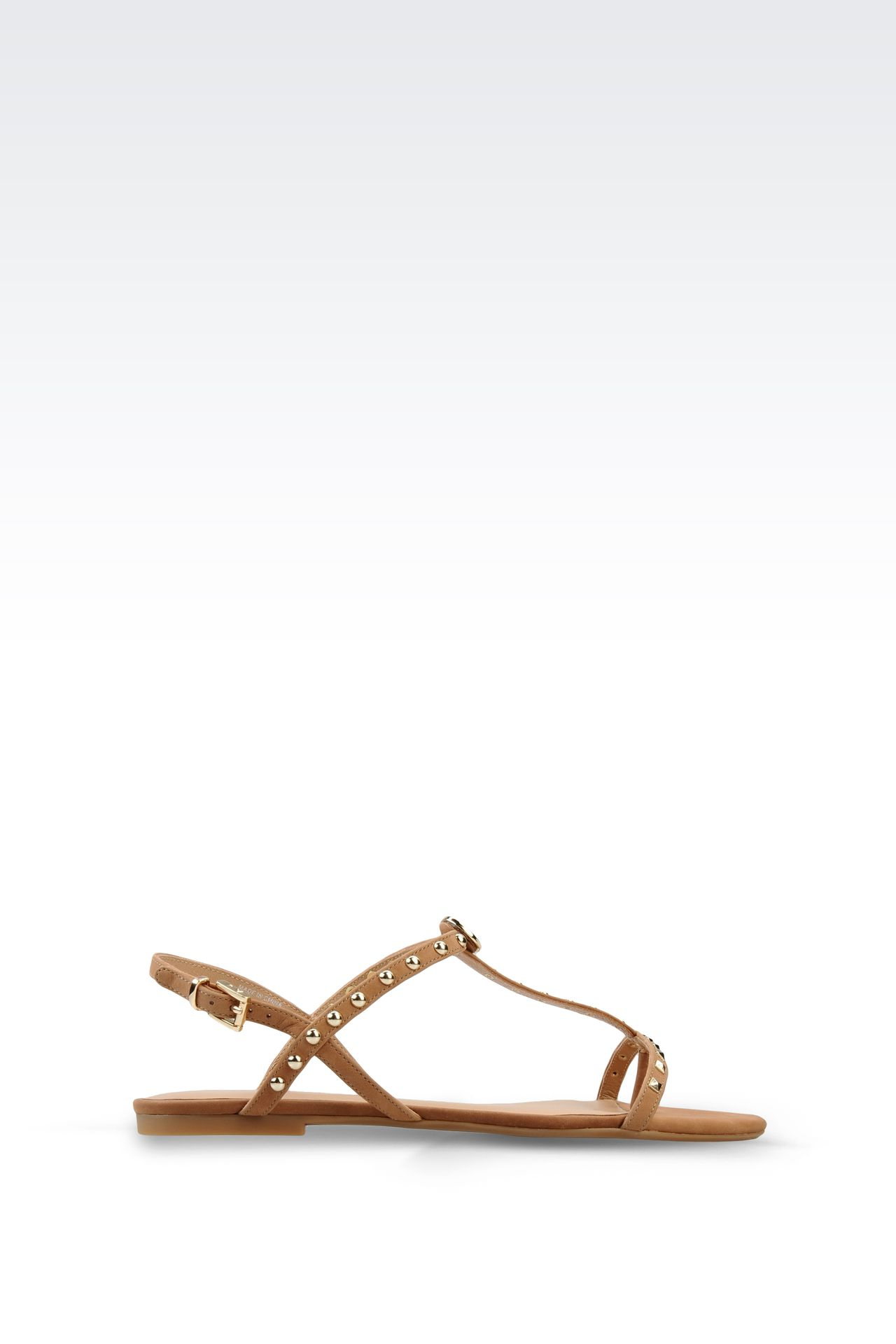 FLAT LEATHER SANDAL WITH STUDS: Flat sandals Women by Armani - 0