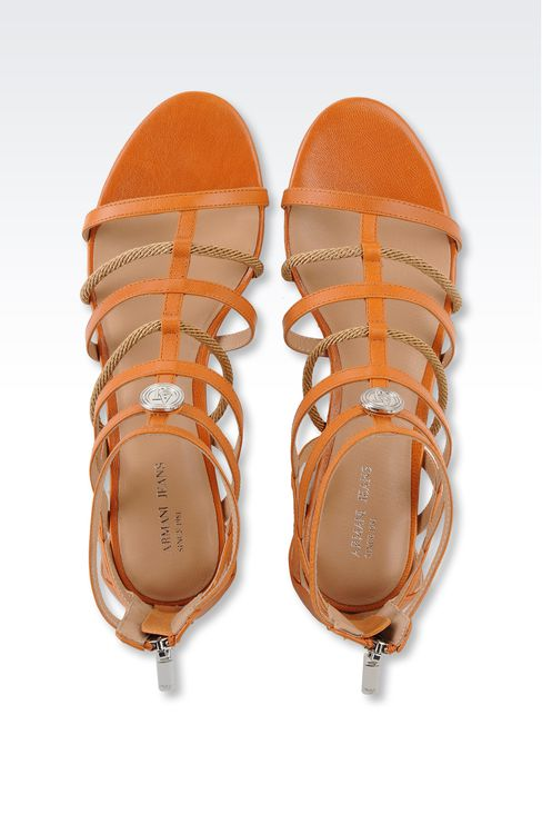 FLAT SANDAL IN LEATHER AND ROPE: Flat sandals Women by Armani - 3