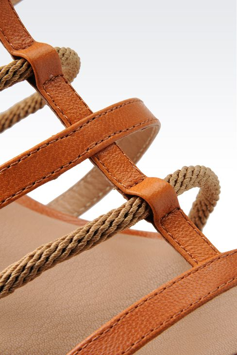 FLAT SANDAL IN LEATHER AND ROPE: Flat sandals Women by Armani - 4
