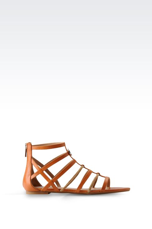 FLAT SANDAL IN LEATHER AND ROPE: Flat sandals Women by Armani - 1