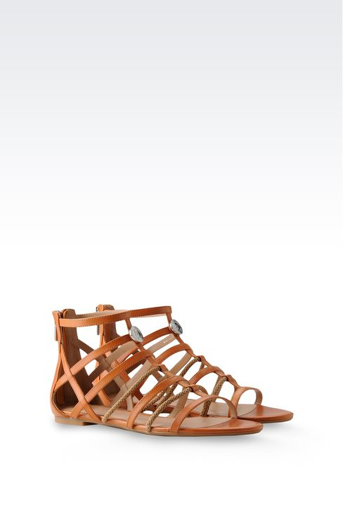 FLAT SANDAL IN LEATHER AND ROPE: Flat sandals Women by Armani - 2