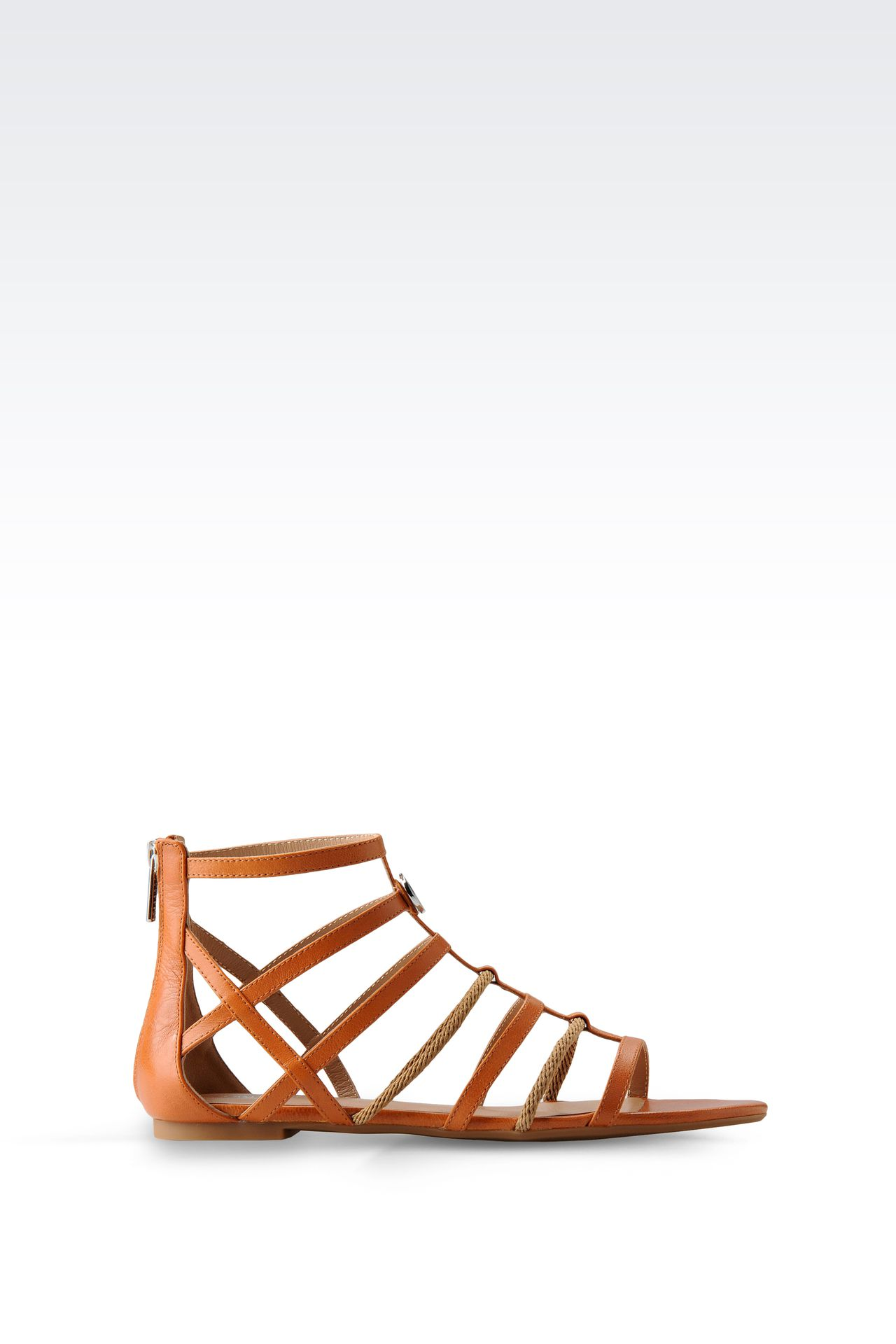 FLAT SANDAL IN LEATHER AND ROPE: Flat sandals Women by Armani - 0