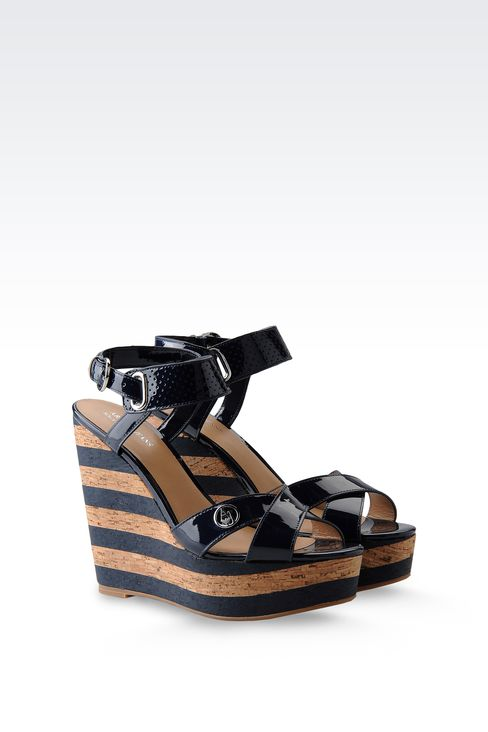 WEDGE SANDAL IN PATENT EFFECT LEATHER: Wedges Women by Armani - 2
