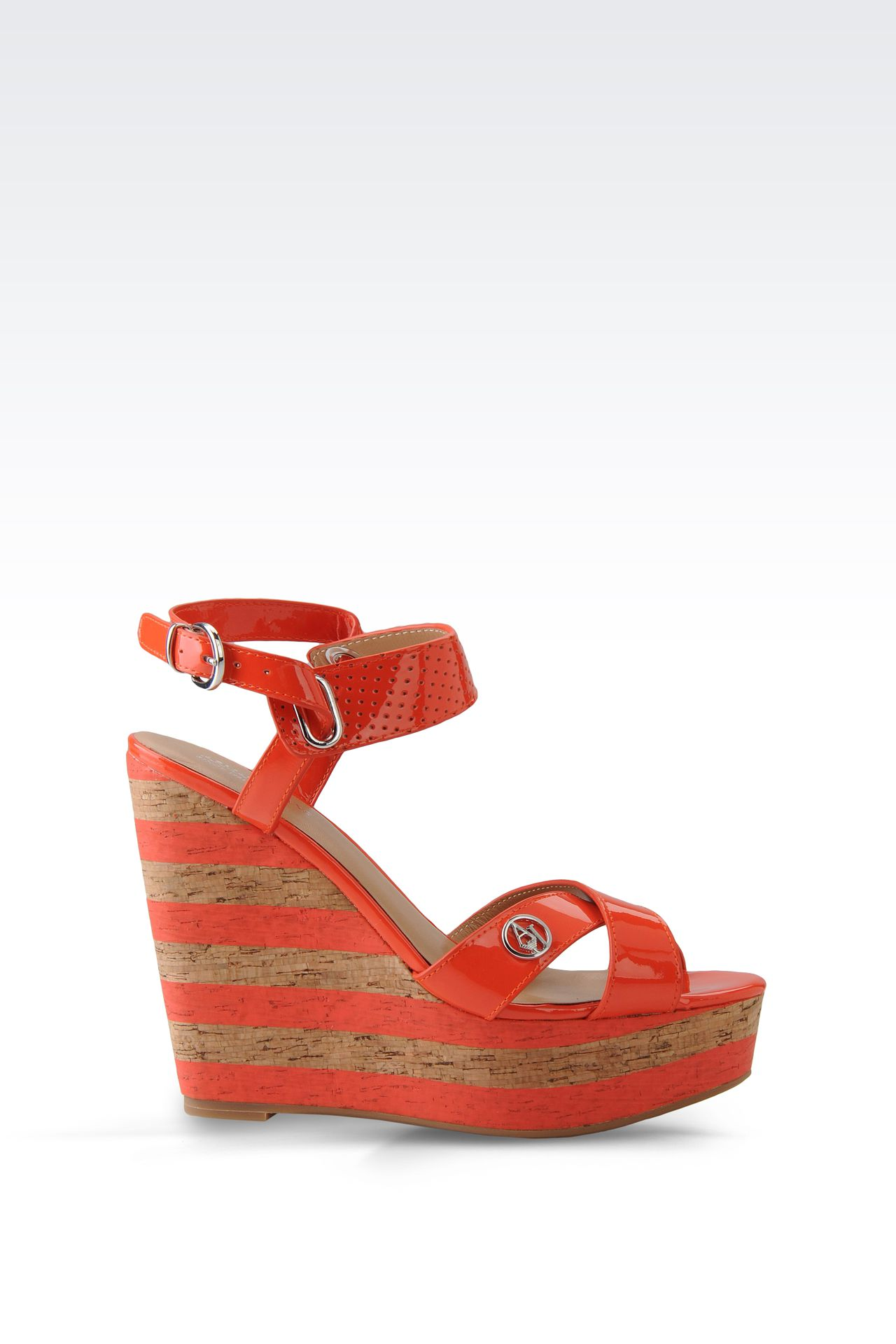 WEDGE SANDAL IN PATENT EFFECT LEATHER: Wedges Women by Armani - 0