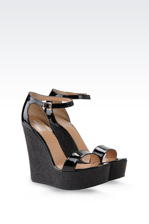 WEDGES IN PATENT EFFECT LEATHER: Wedges Women by Armani - 2