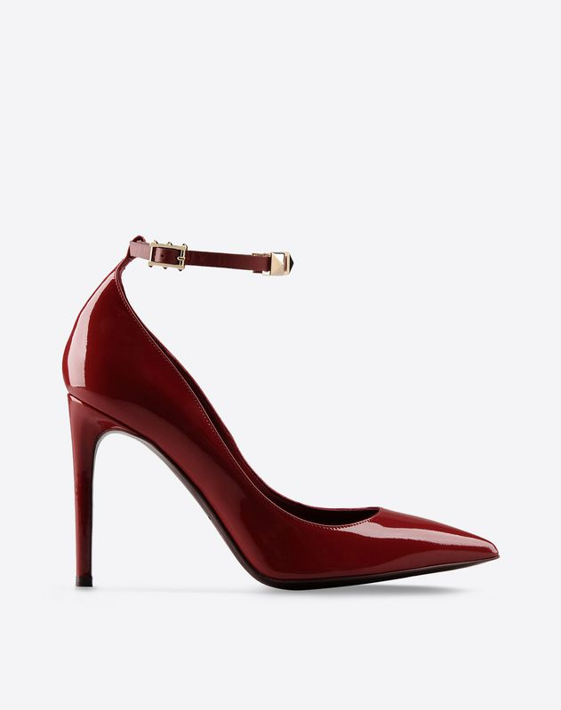 Metal Applications Varnished effect Solid color Buckling ankle strap closure Leather sole Narrow toeline Spike heel  Women 44648999rx