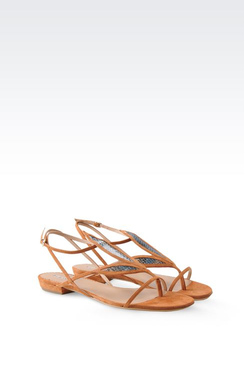 FLAT SANDALS IN SUEDE AND REPTILE PRINT LEATHER: Flat sandals Women by Armani - 2