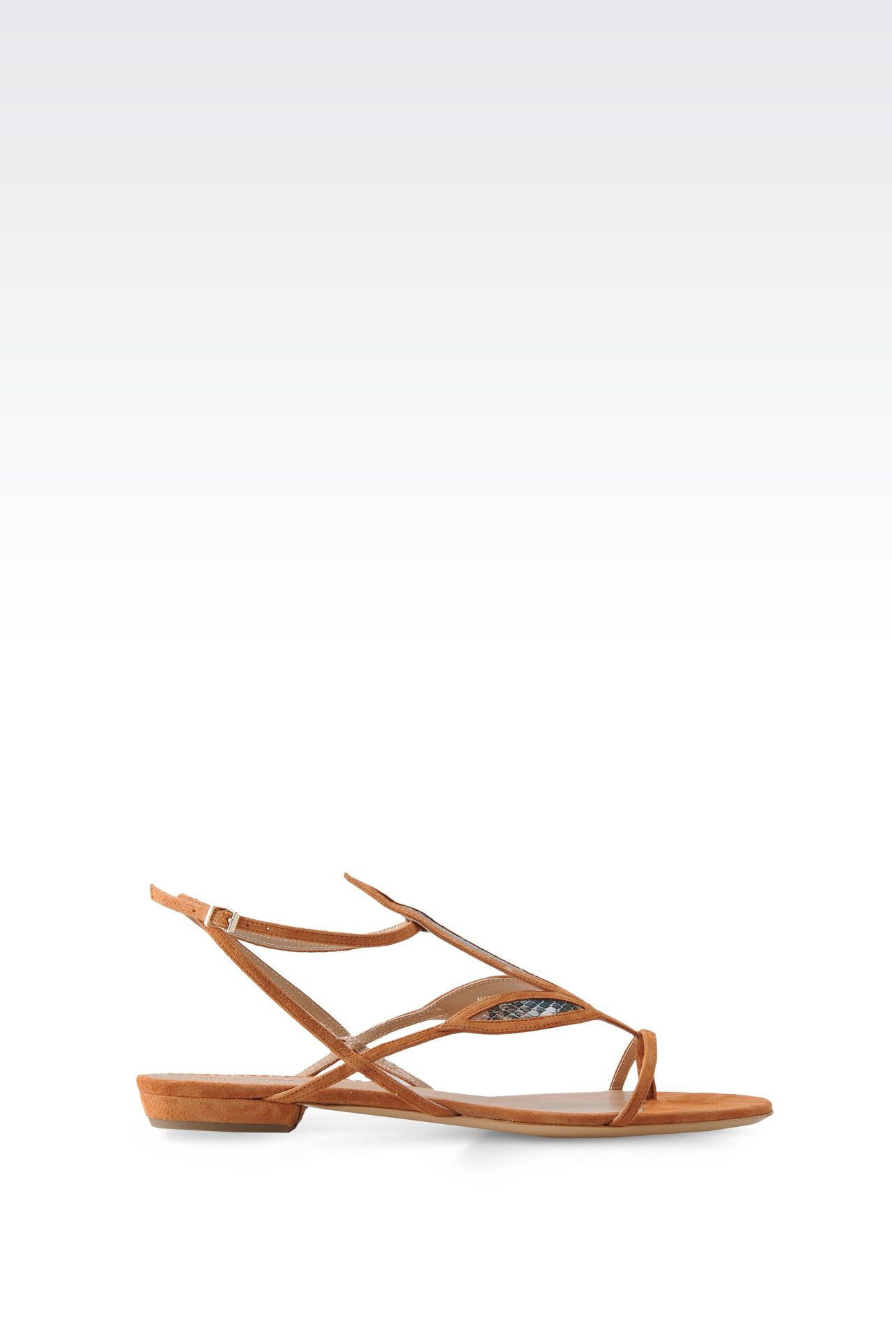 FLAT SANDALS IN SUEDE AND REPTILE PRINT LEATHER: Flat sandals Women by Armani - 0