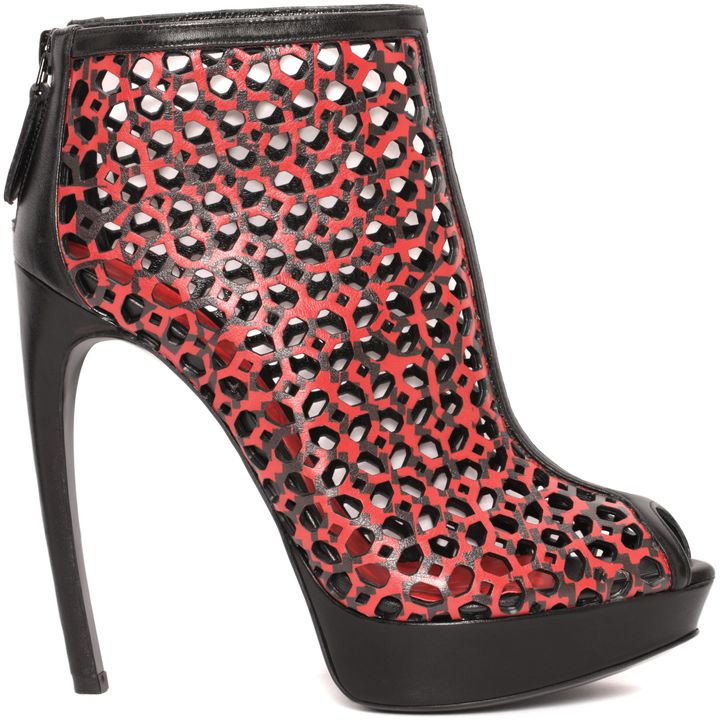Alexander McQueen, Laser Cut Armadillo Peep-Toe Boot