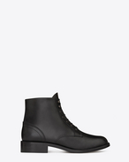 SIGNATURE PATTI LACE-UP BOOTIE IN BLACK LEATHER