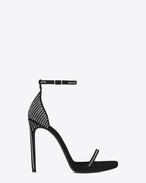 CLASSIC JANE ANKLE STRAP 110 Studded SANDAL IN Black Suede and Crystal Studs