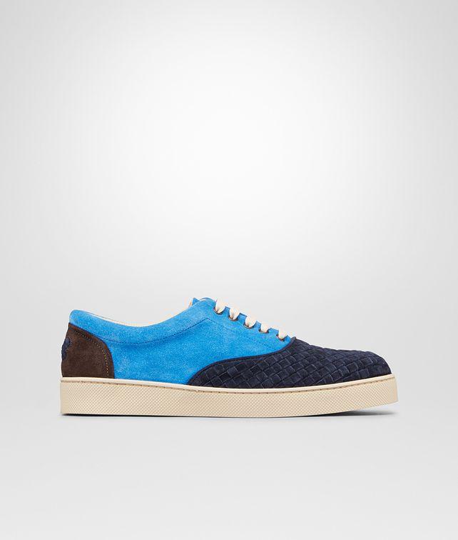 Prusse Signal Blue Espresso Intrecciato Suede Sneaker