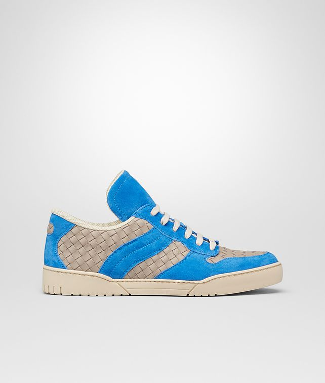 BOTTEGA VENETA SNEAKERS SAND E SIGNAL BLUE IN INTRECCIATO CALF E SUEDE Sneakers U fp