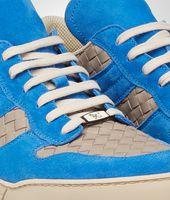 SNEAKERS SAND E SIGNAL BLUE IN INTRECCIATO CALF E SUEDE