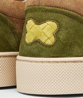 Chartreuse Bronze Army Intrecciato Suede Sneaker
