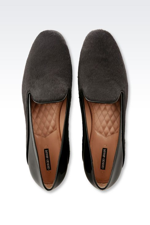 SLIP-ON IN PONY SKIN WITH PATENT DETAILS: Moccasins Women by Armani - 3