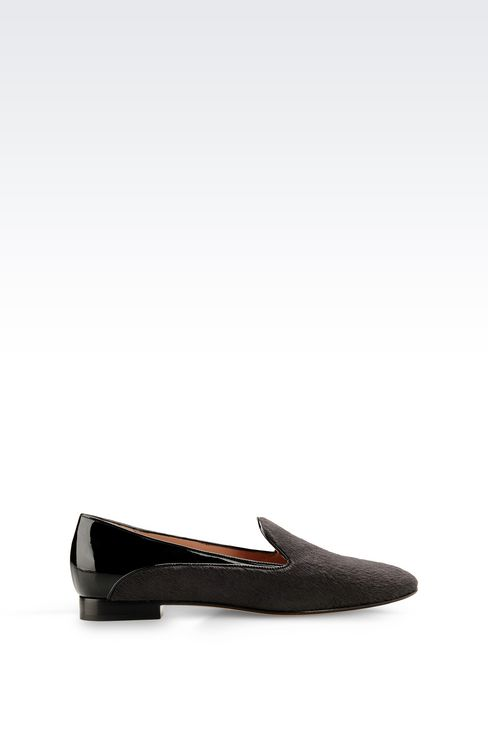 SLIP-ON IN PONY SKIN WITH PATENT DETAILS: Moccasins Women by Armani - 1