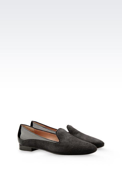 SLIP-ON IN PONY SKIN WITH PATENT DETAILS: Moccasins Women by Armani - 2