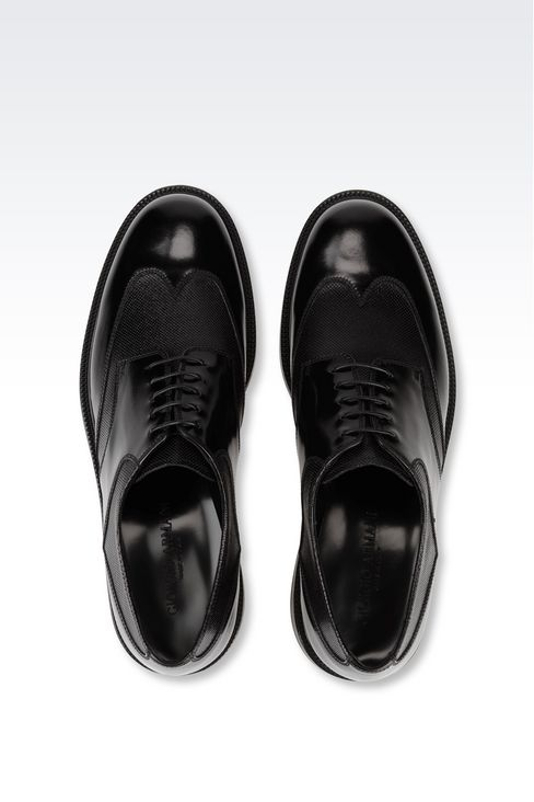 DERBY IN TWO-COLOUR BRUSHED CALFSKIN: Lace-up shoes Men by Armani - 3