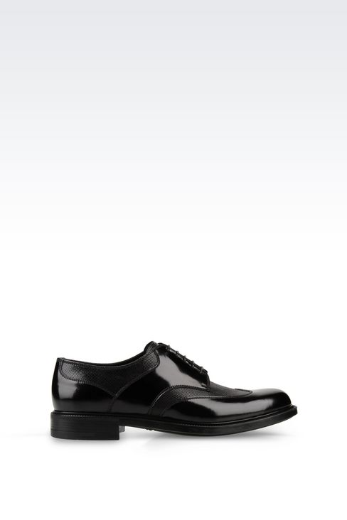 DERBY IN TWO-COLOUR BRUSHED CALFSKIN: Lace-up shoes Men by Armani - 1