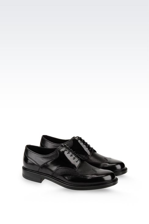 DERBY IN TWO-COLOUR BRUSHED CALFSKIN: Lace-up shoes Men by Armani - 2