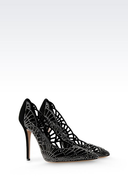 SUEDE COURT WITH RHINESTONES: Pumps Women by Armani - 2