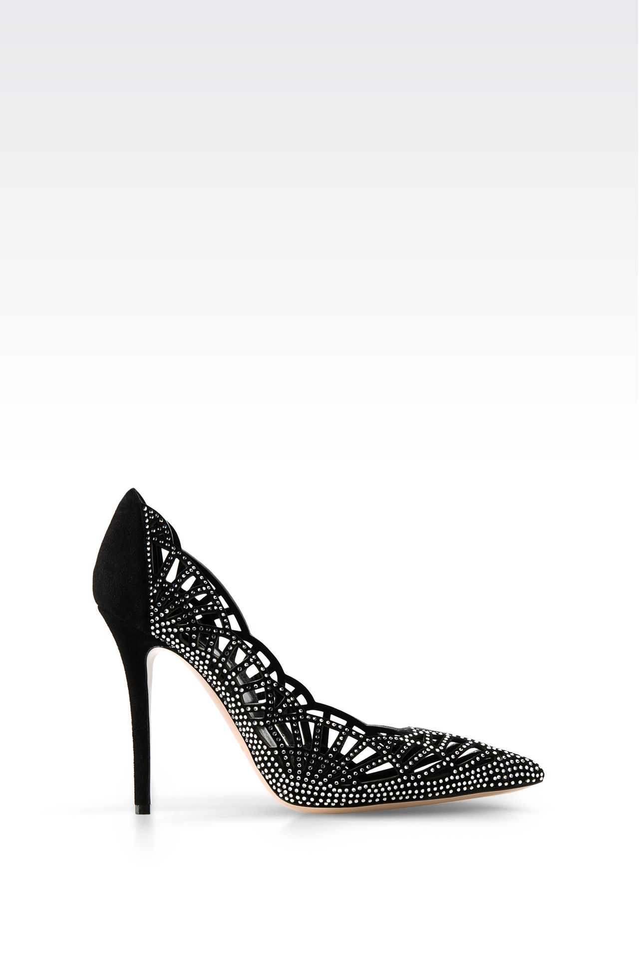 SUEDE COURT WITH RHINESTONES: Pumps Women by Armani - 0