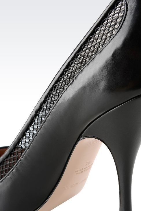 COURT IN CALFSKIN AND MESH: Pumps Women by Armani - 4