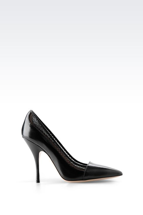 COURT IN CALFSKIN AND MESH: Pumps Women by Armani - 1