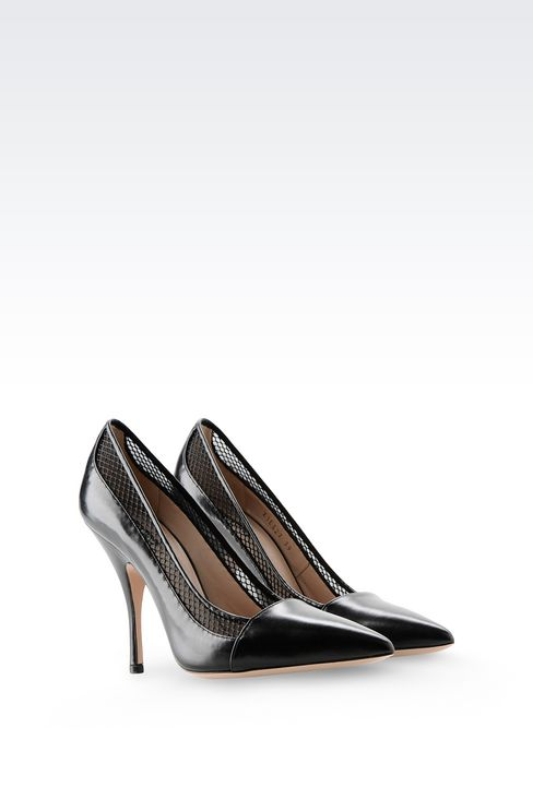 COURT IN CALFSKIN AND MESH: Pumps Women by Armani - 2