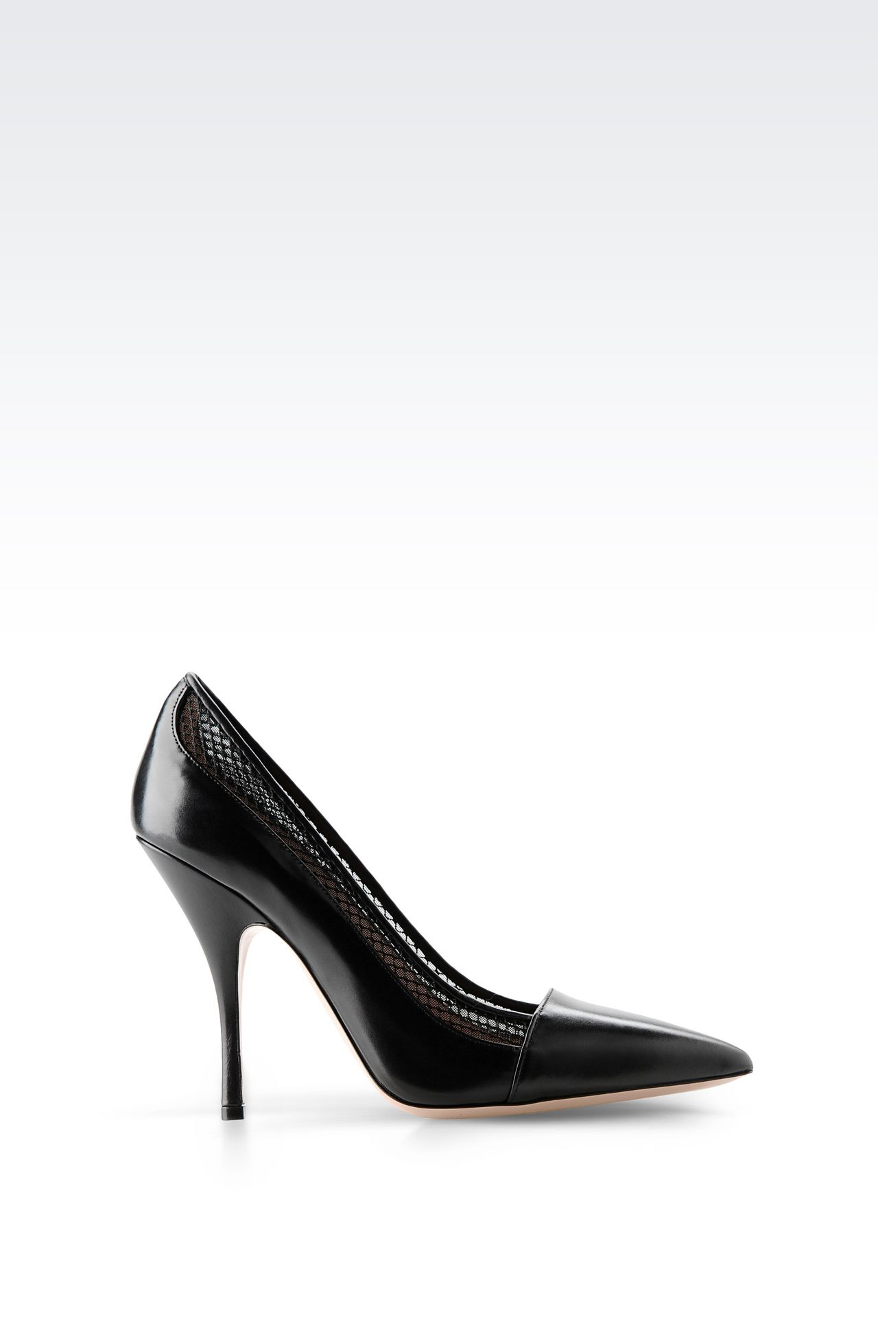 COURT IN CALFSKIN AND MESH: Pumps Women by Armani - 0