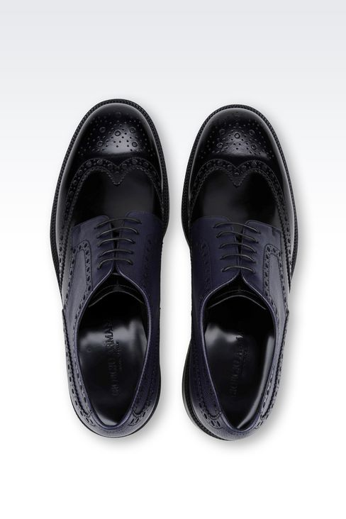 DERBY IN BRUSHED AND SAFFIANO CALFSKIN: Lace-up shoes Men by Armani - 3