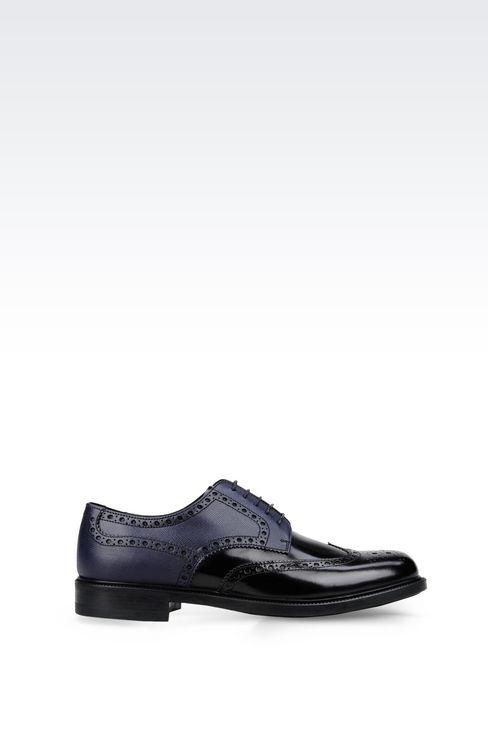 DERBY IN BRUSHED AND SAFFIANO CALFSKIN: Lace-up shoes Men by Armani - 1