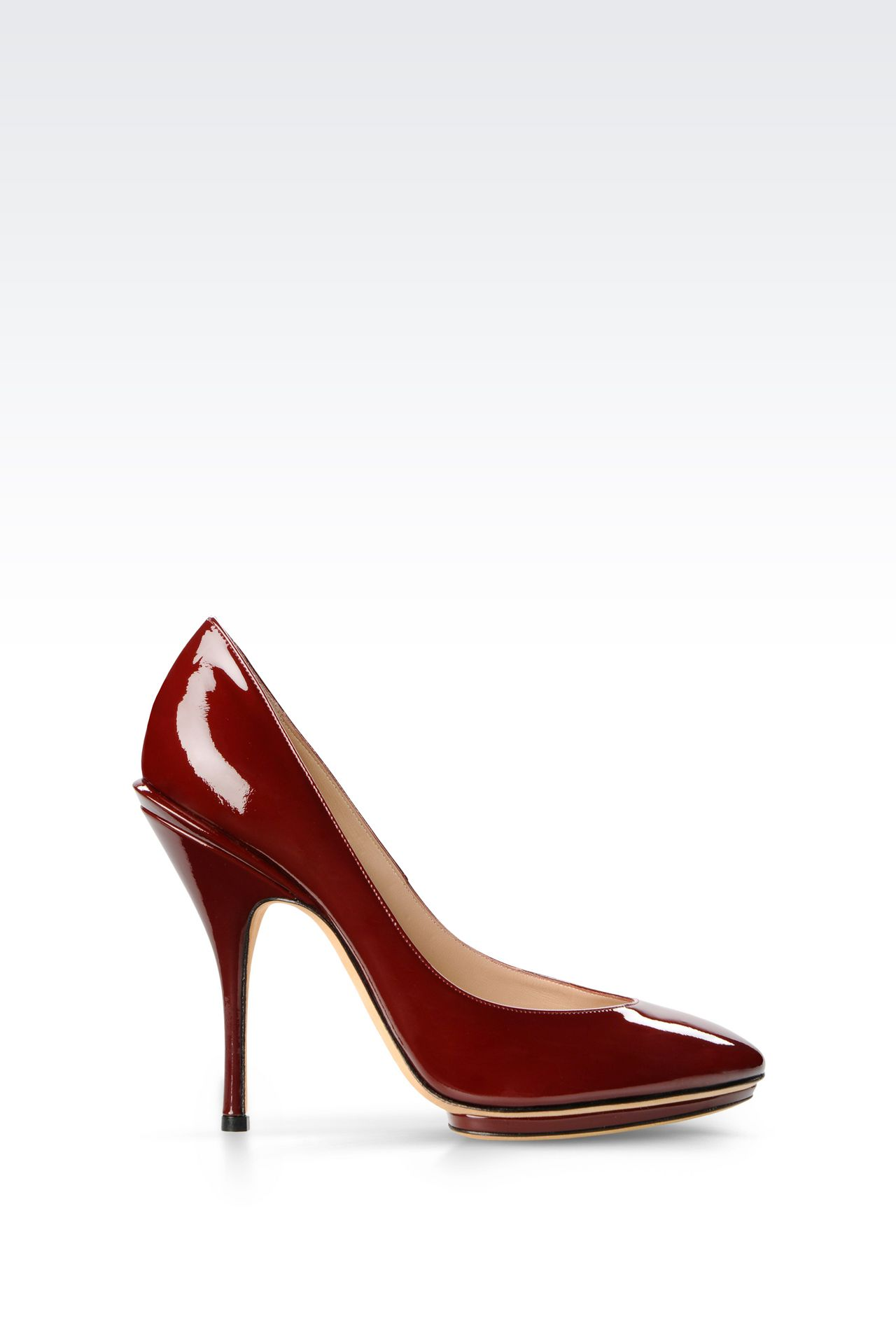 PATENT COURT SHOE WITH PLATFORM: Heeled pumps Women by Armani - 0