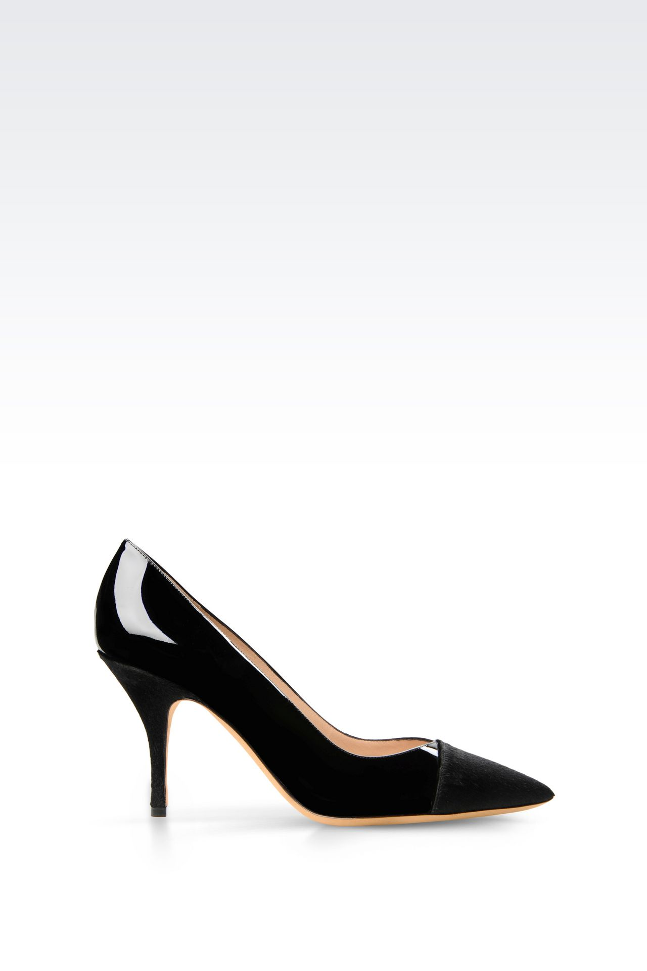 COURT SHOE IN PONY SKIN AND PATENT: Heeled pumps Women by Armani - 0