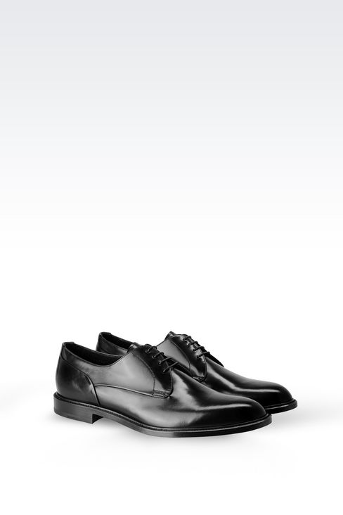 DERBY IN BRUSHED FUMÉ CALFSKIN: Lace-up shoes Men by Armani - 2