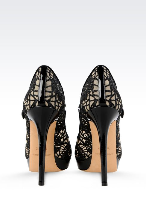 PUMP IN PATENT AND MESH WITH EMBROIDERY: Closed-toe slip-ons  Women by Armani - 3