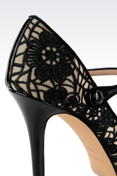 PUMP IN PATENT AND MESH WITH EMBROIDERY: Closed-toe slip-ons  Women by Armani - 4