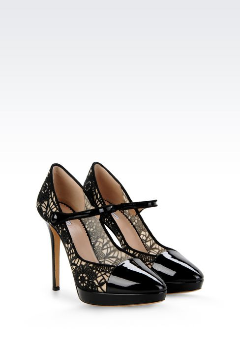 PUMP IN PATENT AND MESH WITH EMBROIDERY: Closed-toe slip-ons  Women by Armani - 2
