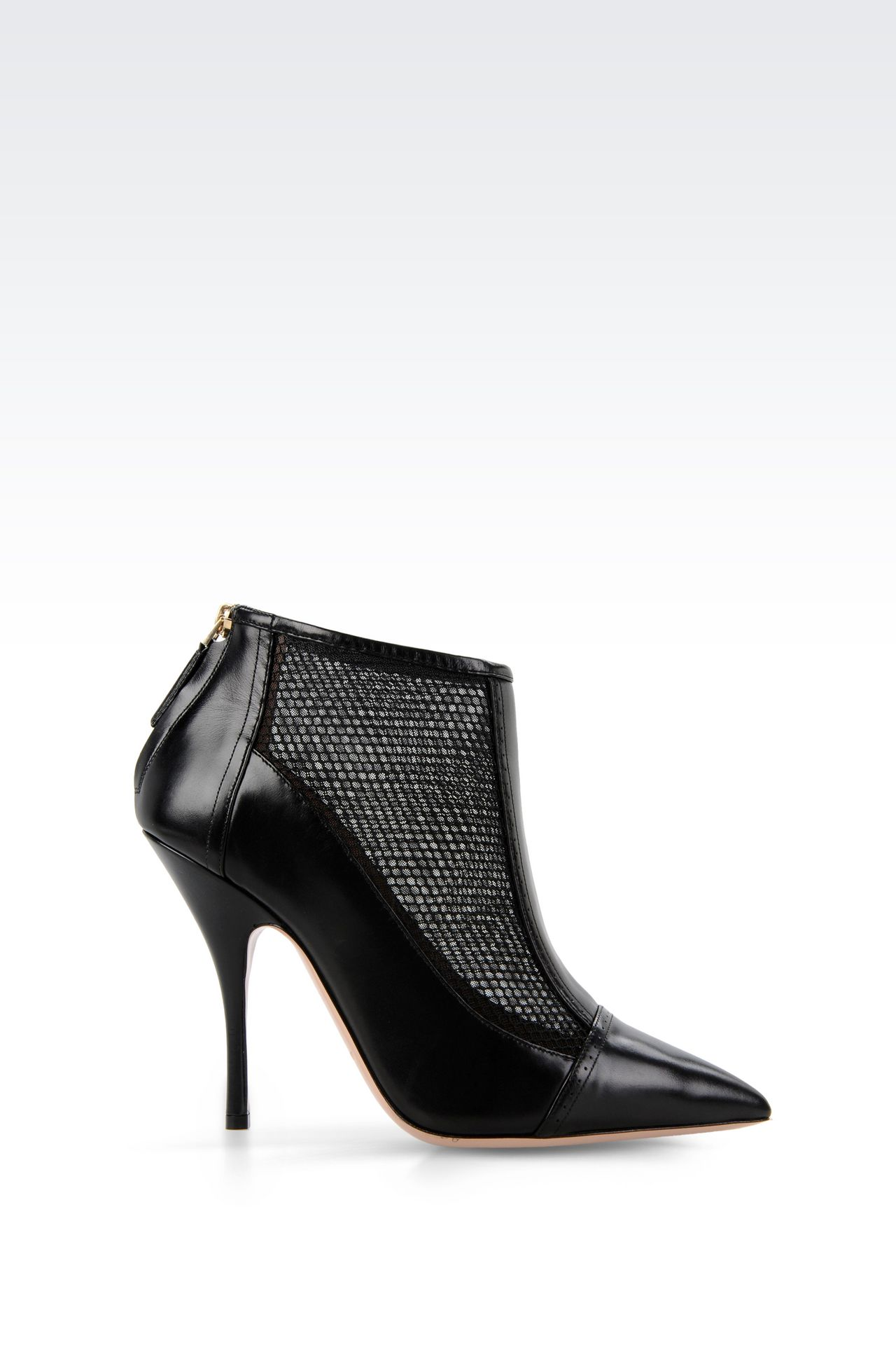 ANKLE BOOT IN CALFSKIN AND MESH: Shoe boots Women by Armani - 0